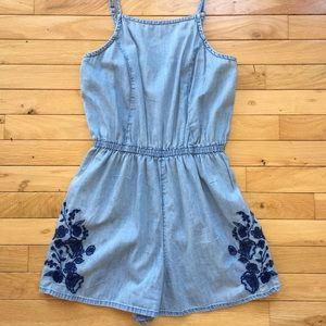Denim floral romper